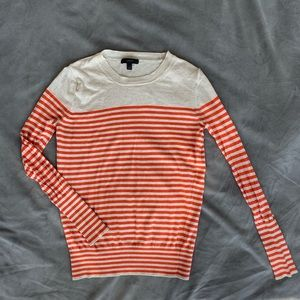 J. Crew striped cotton long sleeve shirt in orange